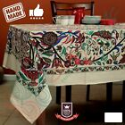 Cotton Floral Tree of Life Tablecloth Rectangle Black Kitchen Dining Linen