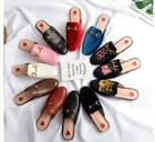 Womens Leather Slippers Embrodiery Mules Princetown Horsebit Mules Shoes