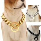 Big Dog Gold Collar Stainless Steel Cuban Link Chain Strong Pet Collar Choker