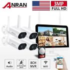 "Home Security Camera System Wireless 1296P WiFi Outdoor 13""Monitor 1TB IR Audio"