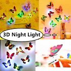 1-12pcs Led 3d Night Light Butterfly Art Decal Wall Stickers Home Bedroom Decor