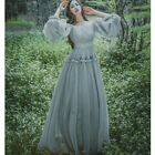 Womens Chiffon Off the Shoulder Princess Maxi Dress Puff Sleeve Prom Gown Casual