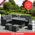 Rattan Garden Furniture 6 Piece Patio Set Table Chairs 9 Seater Mix Grey - Brown