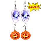 1 Pair Party Earrings Lighted Skull Earrings LED Halloween Scary Fashion