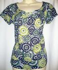 New Monsoon Blue Green Cotton Top Shirt Blouse Size 8 Short Sleeve Circles Spots