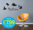 Wall Stickers, kids, Personalised Names - Boys Diggers
