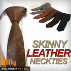 New Vintage Solid Artificial Leather Tie SKINNY Necktie