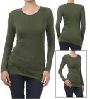 Basic Long Sleeve Solid Top Womens Plain T-Shirt Stretch Tight Fit Crew Neck