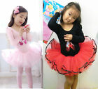 Girl Party Long Sleeve Leotard Ballet Tutu Dance Shoes Costume Dress 3-8Y 2Color