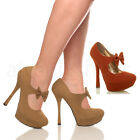 WOMENS LADIES 60'S 70'S STYLE PLATFORM PUMPS HIGH HEEL BOW COURT SHOES SIZE
