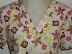 XS S M L XL 2XL ORANGE DARK MPINK LIME GREEN BROWN CREAM FLOWER PRINT SCRUB TOP