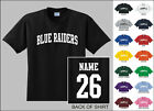 Blue Raiders College Letters Custom Name & Number Personalized T-shirt