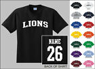 lion names - Lions College Letters Custom Name & Number Personalized T-shirt