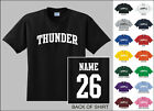 Thunder College Letters Custom Name & Number Personalized Basketball T-shirt