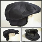 NEW VINTAGE STYLE SNAP BUTTON EARFLAP SUEDE COLD PROOF NEWSBOY CABBIE HAT BLACK
