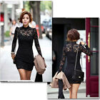 Women's Long Sleeve Polo Neck Sexy Clubwear Party Cocktail Lace Mini Dress #176