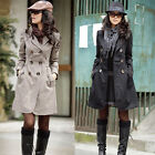New Womens Long Sleeve Slim Fit Trench Double Breasted Coat Jacket Outwear #213