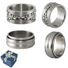 Mens Stainless Steel Trendy Bold Design Rings in Size 9, 10, 11, or 12 +Gift Box