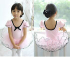 Girl Pink Party Ballet Dance Fairy Costume Tutu Dress Shirt 3-8Y Short Sleeve