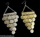BELLY DANCE EGYPTIAN  METAL COIN EARRING EARRINGS JEWELRY GYPSY HANDMADE TRIBAL