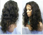 malaysia curly / wavy indian remy human hair lace front wigs