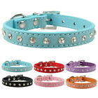 "8-11""  Puppy Rhinestone Dog Cat Collars (5 colors) Suede Leather Pet Collars"