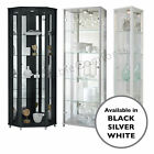 Single, Double & Corner Black or White Glass Display Cabinet