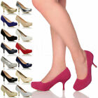 WOMENS LADIES LOW MID HEEL PUMPS CONCEALED PLATFORM WORK COURT SHOES SIZE