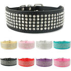 5 Rows Bling Diamante Rhinestone Leather Dog Collars For Large Girl Dog M L XL