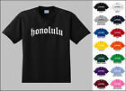 City of Honolulu Old English Font Vintage Style Letters T-shirt
