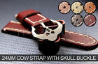 24mm Maroon Cow Strap with Skull Buckle for Panerai Strap Band