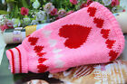 Pink hearts Pet Coat Dog Cat Puppy Knitted Jumper Sweater Apparel Clothes XS-XL