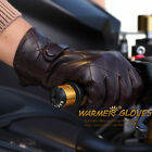 Fashion Men's Italian nappa leather gloves with plaid stitching buckle faster