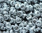 100pcs silver flat round single  and mixed numbers 0-9 acrylic beads 7mm