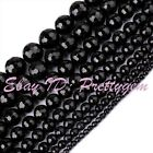 18/16/14/12/10/8/6/4mm Faceted Round Black Agate Onyx Gemstone Beads Strand 15""