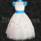 Flower Girl Dress Shawl Wedding Bridesmaid Party Satin Size18M-10y 177