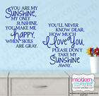 You Are My SUNSHINE Quote Vinyl Wall Decal Lettering Nursery I Love You Decor
