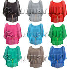 LADIES CRINKLED CHIFFON BLOUSE WOMEN'S BELTED BATWING TOP UK SIZE 8-12