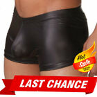 Black Metallic Stretch Boxer Brief Men's Faux Leather Wet-Look Underwear S-6XL