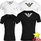 Mens Emporio Armani T-Shirts Stretch Cotton V-Neck with Big Back Logo