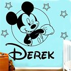 Mickey Mouse PERSONALISED Boys NAME Vinyl Wall Sticker Art Decal Transfer (CH21)