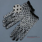 Delicate Stretch Nylon Filet Crochet Gloves with Sequins and Beads