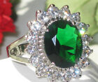 Size H J L N P R T V 4 11CUBIC ZIRCONIA EMERALD OVAL royal WHITE RING 2456emd