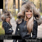 Bomber Aviator USHANKA fur hat RANCHED Gold/Black raccoon women winter cap NEW