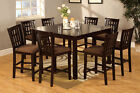 Eleanor Espresso 7 or 9 Pieces Counter Height Table Set with Leaf