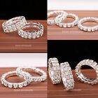 1 Row/2 Rows Silver Plated Crystal Rhinestone Stretch Ring Jewelry for Party