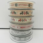 per 2 metres Berisfords christmas ribbons 15mm stag mistletoe merry christmas