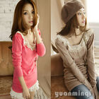 Women's Stylish Long Sleeve Knitting Casual Tops T-Shirt Pink Khaki Size S #700