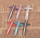 1x Red/Pink/Black/White Curved Crystal Cross Connector For Jewelry Bracelet