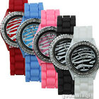 Womens Mens Gel Silicone Crystal Jelly Sport Quartz Watch Classic 5 Colors #8809